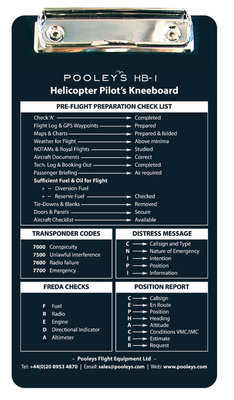 HB-1 Helicopter Pilot Knee Board Pooleys