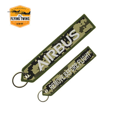 """Military Airbus """"remove before flight"""" key ring"""